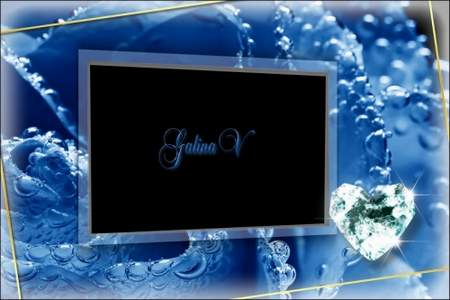 Glamour Photoframe - Blue Roses and Brilliants
