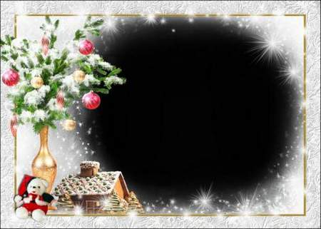 Greeting frame for Photoshop - Happy New Year in gold
