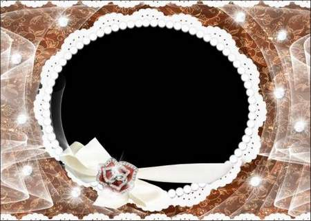 Photo frame - Lace and pearls and tenderness ( free photo frame psd, free download )