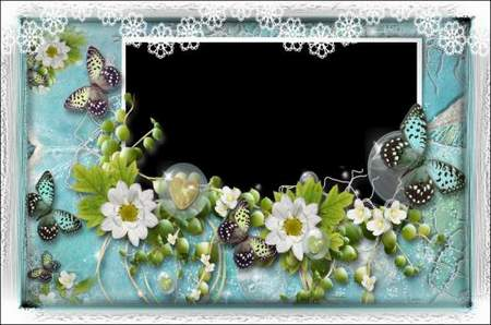 Flower Photo frame png - Turquoise ( free photo frame png, free download )
