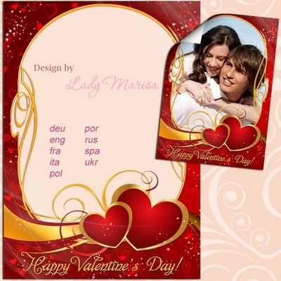 Valentine's photo frame psd template - Happy Valentine's Day! ( free Valentine photo frame psd, free download )