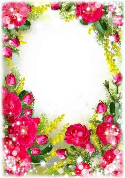 Beautiful photo frame with red roses ( free flower photo frame psd, free download )
