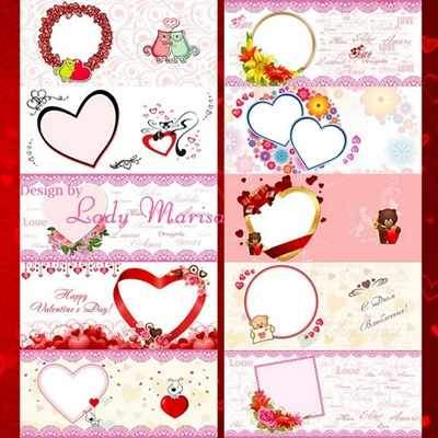 Romantic photo frames for mug (free 14 photo frames psd + free 14 photo frames png, free download)