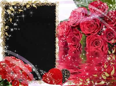 Frame for photo – Red roses on the water ( free photo frame psd, free download )