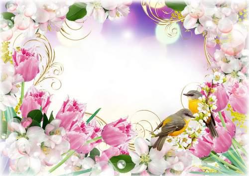 Flower Frame for photoshop download - Spring flowers. Transparent ...