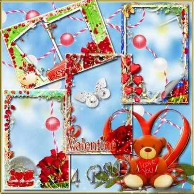 Holiday Frames for photo Valentine's Day ( free 4 Valentine's photo frames psd, free download )
