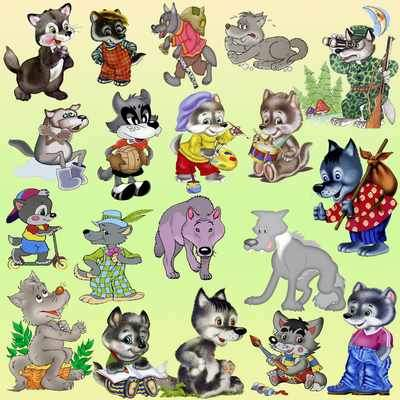 Wolves cartoon clipart psd ( free wolf clipart psd, 20 items, transparent background, free download )