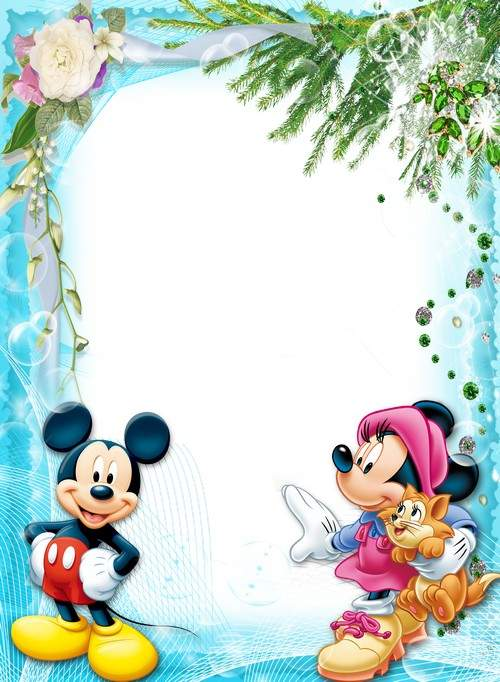Children's frame for photoshop with Mickey and Mini