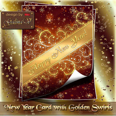 PSD Source - New Year Card with Golden Swirls ( free psd file, free download )