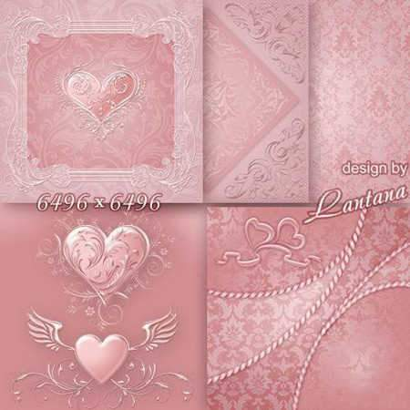 Romantic bakgrounds, Gentle romantic bakgrounds to Valentines Day - Pink Heart ( preview - original size )