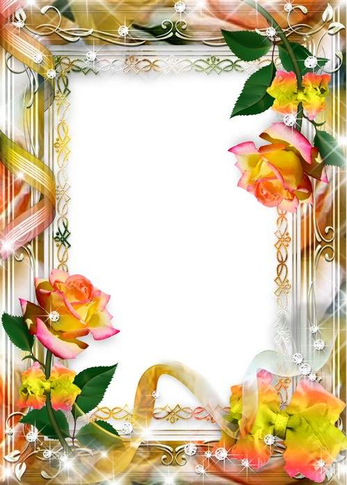 Delicate frame on 8 March with roses - Happy Holidays spring