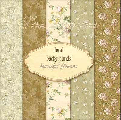 Set of backgrounds with floral patterns ( free floral backgrounds, 5 JPEG, free download ) preview - original size