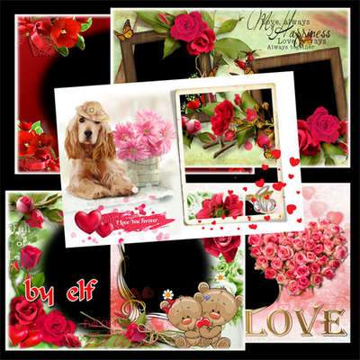 Set of Valentine photo frames - Happy Valentines Day ( free 7 photo frames png, free download )