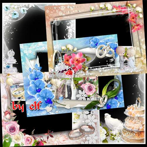 Set wedding framework for photoshop Part 3 ( free wedding photo frames png, free download )