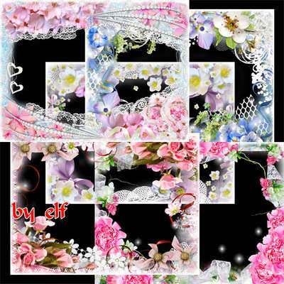 Spring photo frames png - Blossoming spring ( free 6 photo frames png, free download )