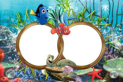Children's sea frame psd for photoshop with the heroes Nemo download