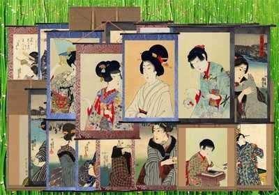 PSD Graphic Panels-scrolls with portraits of Japanese women ( free psd file, free download )