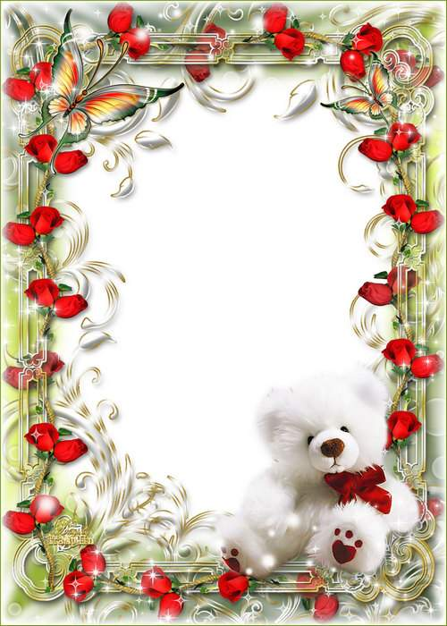 Frame on March 8 with a soft toy and butterflies