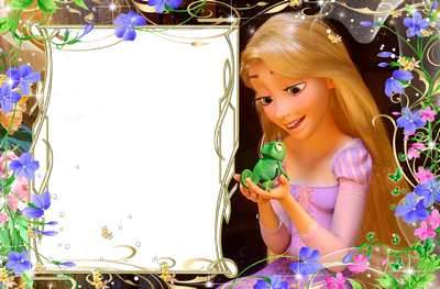 Bright children's frame for a photo with the heroes of Rapunzel 2 ( free photo frame psd, free download )
