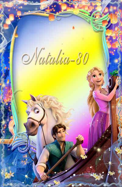 Bright children's frame for a photo with the heroes of Rapunzel 4 ( free photo frame psd, free download )