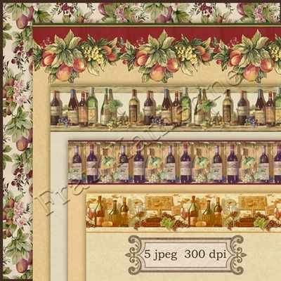 Vintage backgrounds with border of fruit and wine ( free backgrounds, free download ) preview - original file