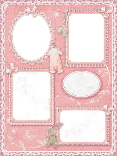 Photo Frame collage of four photos for baby girl ( free photo frame png, free download )