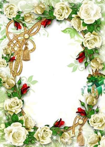 Frame for photo with roses ( free flower photo frame psd, free download )