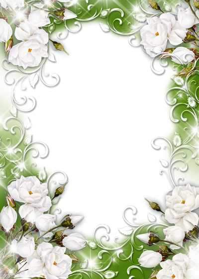 Frame for photo - She, as white magic flower ( free flower photo frame psd, free download )
