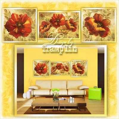 Flower Triptych psd - Poppies ( free psd file download )