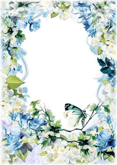 Flower photo frame ( free photo frame psd, free download )