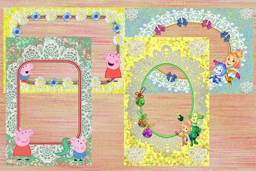 Kids Frames with cartoon characters with Fixiki, Pepoy and mump