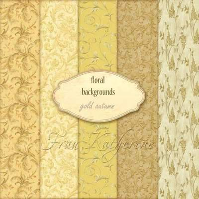 Gold Autumn Backgrounds with floral patterns