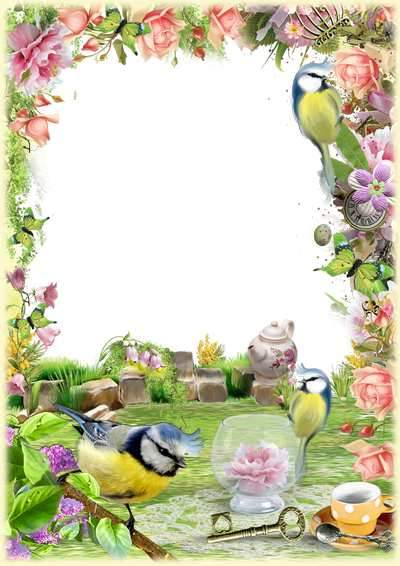 Photo frame psd template - Spring