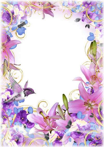 Flower photo frame psd