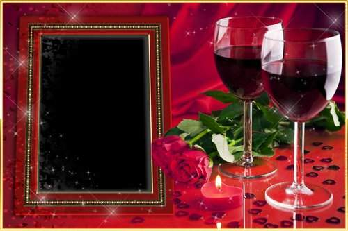 Romantic Photoframe with roses - Love ( free photo frame psd, free download )