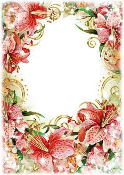 Photo frame in psd with flowers ( free photo frame psd, free download )