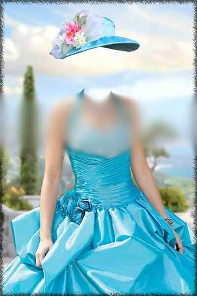 Lady In a blue dress psd download