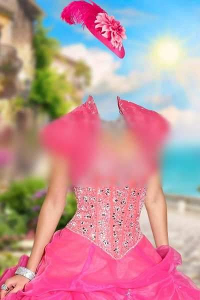 Photoshop Template - Lady in pink dress on quay