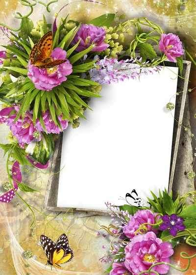 Romantic frame for Photoshop - Flowers of happiness ( free photoshop frame, free download )