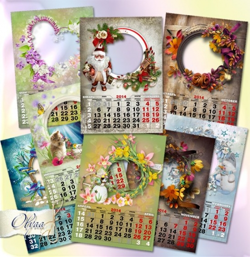Wall calendar for 2014 with a frame - Seasons