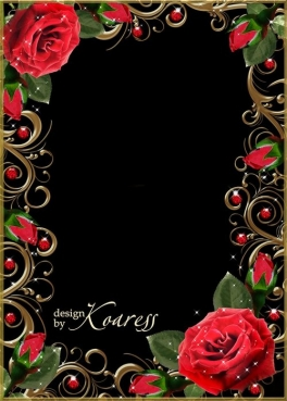 The collection of frames for Photoshop with scarlet roses for Valentine's Day