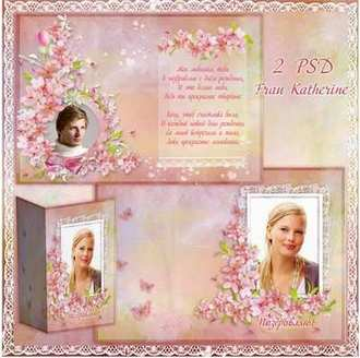 Greeting bilateral photo card psd in soft pink ( free photo card psd, free download )