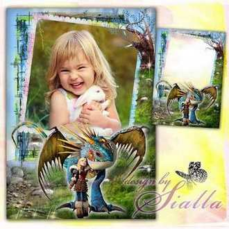 Children's photo frame - How to Train Your Dragon (free photo frame psd + png + download)