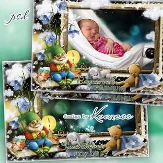 Baby photo frame psd - Sweet dreams ( free photo frame psd, free download )