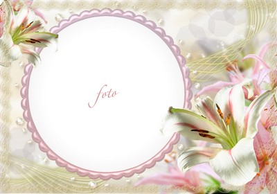 Elegant floral frame with lilies ( free photo frame psd, free download )