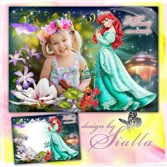 Princess Ariel - Photoshop frame template download ( PSD, PNG )