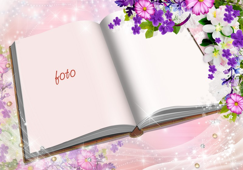 Greeting frame photo card psd - open book of poetry On March 8 ...