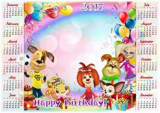 2017 Children's festive calendar psd Happy Birthday