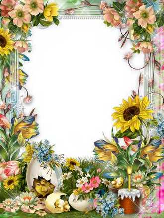 Easter frame - Let a bright holiday will give you happiness ( photo frame psd + png, download )