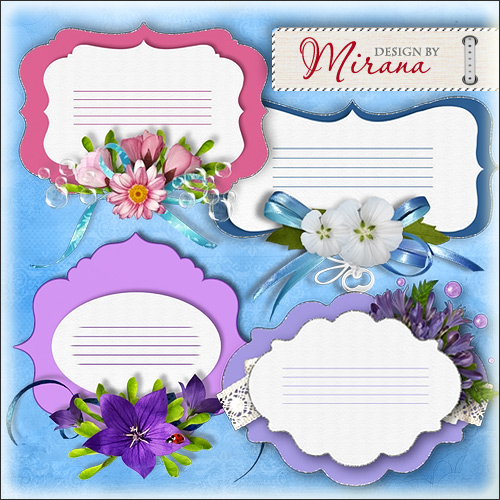 Spring Labels with flowers png images